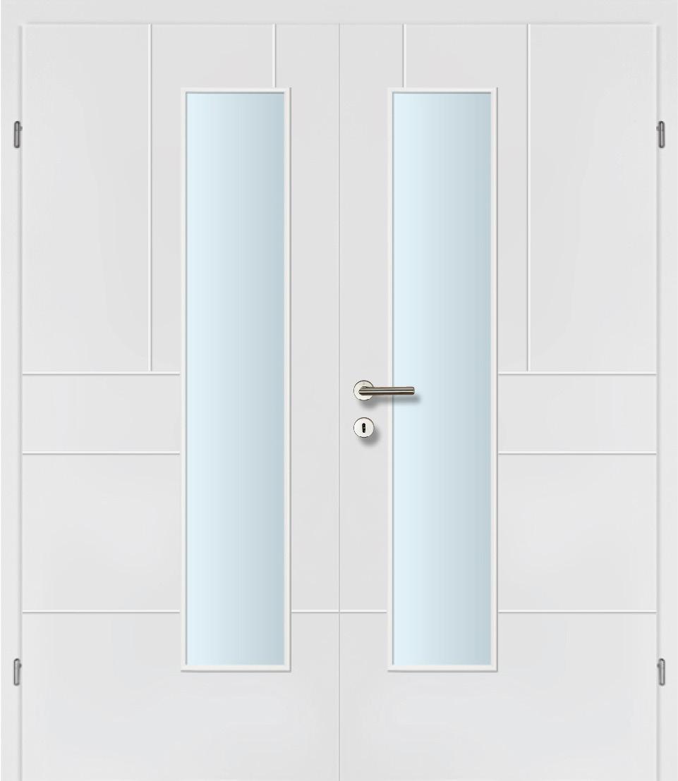 Design Line 40 weiss inkl. Zarge Doppeltüre Glaslichte EN Drückerseitig