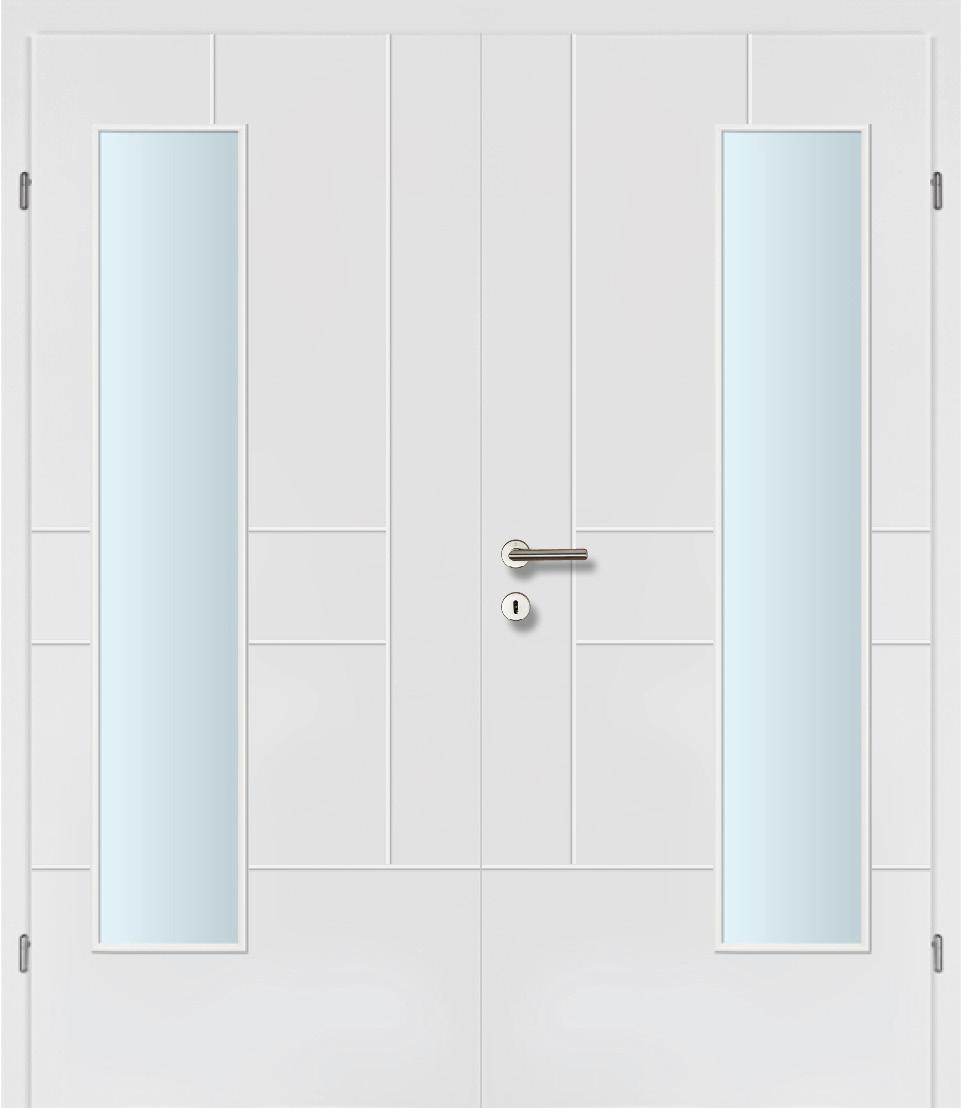 Design Line 40 weiss inkl. Zarge Doppeltüre Glaslichte EN Bandseitig