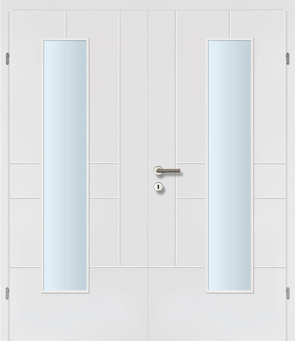 Design Line 40 weiss inkl. Zarge Doppeltüre Glaslichte EN Mittig