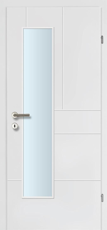 Design Line 40 weiss inkl. Zarge Glaslichte EN Drückerseitig